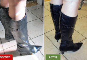 Boots alteration and repair service for narrowing boots. Fitting skinny calves. Before and after picture.