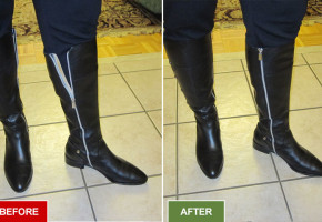Boots alteration and repair service for widening boots. Fitting large calves. Before and after picture.