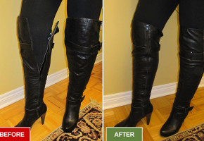 Boots alteration and repair service for widening boots. Before and after picture.