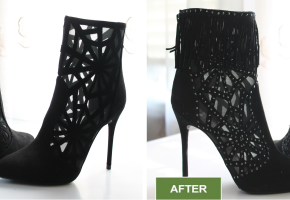 Shoe repair and booties alteration services by Leon's Boot Alterations. Before and after pictures. Added diamonds and beautiful black fringe.