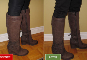Boots alteration and repair service for narrowing boots. Fitting small calves. Before and after picture.