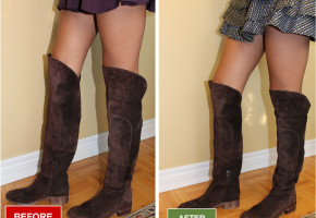 Boots narrowing for wide boots. Altered a pair of Boots for a women with skinny calves. Boots alteration and repair service for narrowing boots. Before and after picture.