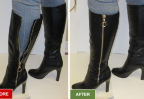 Boots alteration and repair service for widening boots. For women with larger calves. Before and after picture.