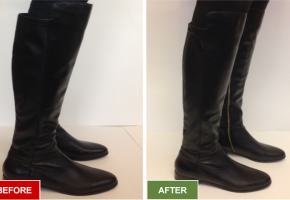Boots alteration and repair service for narrowing boots. Before and after picture.